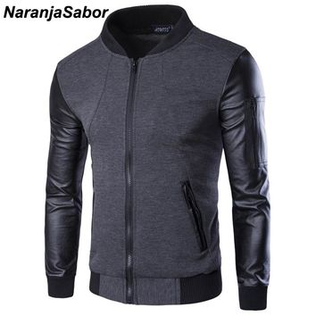 NaranjaSabor Spring Men's Jackets Bomber Jacket Patchwork Leather Coats Men Zipper Outerwear Motorcycle Jackets Tracksuit 3XL