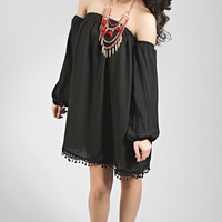 keep them guessing off shoulder tunic - black
