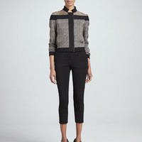 Fendi Paneled Knit Bomber Jacket and Cropped Skinny Trousers