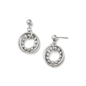 Diamond-Cut Beaded Circle Dangle Earrings in Sterling Silver