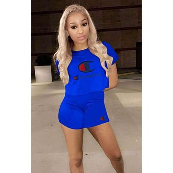 Champion Summer Popular Women Casual Print Short Sleeve Sport Gym Sweatpants Set Two-Piece Sportswear Blue I13582-1