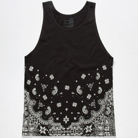 Blue Crown Big Bandana Mens Tank Black  In Sizes