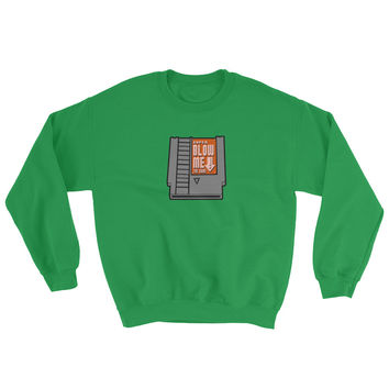 Super Blow Me Nintendo Cartridge Parody Sweatshirt