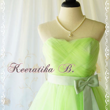 Cinderella Party - Sweet Princess Cinderella Dress Fresh Lime Green Cocktail Dress Strapless Party Wedding Bridesmaid Dress Prom Dress M/L