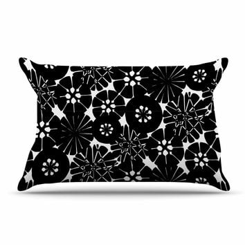 "Amy Reber ""Black Circle Abstract"" White Pattern Pillow Sham"