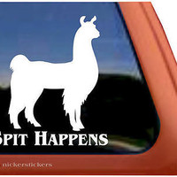 Spit Happens | Llama | High Quality NickerStickers Vinyl Window Decal Sticker