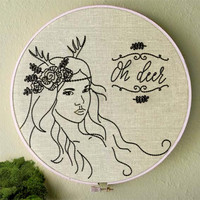 Boho hand embroidery Antler girl pattern Oh Deer by NaiveNeedle