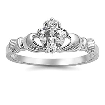Sterling Silver Heart Irish Claddagh Cubic Zirconia Ring with Engraved Detail