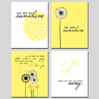 "Dandelion, Flower Print Set, ""You Are My Sunshine"" Yellow, Black, White, Floral, Nature 8x10 Digital Download Wall Art Decor Print"