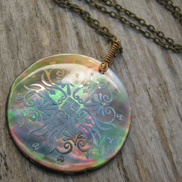 Sacred Geometry Necklace, Mother Of Pearl Pendant Necklace, Crop Circle,  BRONZE Wire Wrapped Necklace, Floral Pattern, Choose Length, CCB3