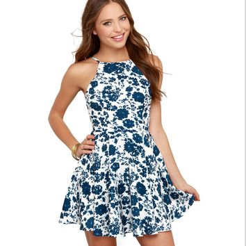 Floral Print Backless Prom Homecoming Patry Dress 10464