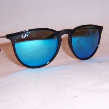 NEW RAYBAN SUNGLASSES ERIKA 4171 601/55 BLACK/BLUE MIRROR 54mm AUTHENTIC