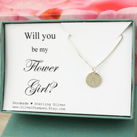Will you be my Flower Girl necklace sterling silver tiny initial necklace, Bridesmaids' gift box, flower girl invite, wedding party gifts