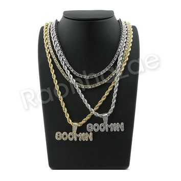 "ICED OUT BOOMIN BUBBLE PENDANT W/ 24"" ROPE /18"" TENNIS CHAIN NECKLACE SC001"