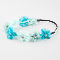 Full Tilt Multicolor Chiffon Flower Headband Blue Combo One Size For Women 26527424901