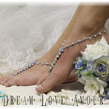 Something blue Crochet Barefoot sandals - beach wedding - pearls bridal foot jewelry- barefoot sandal-wedding shoes-footless sandles | B4