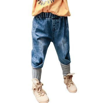 DZIECKO Fashion Boys Jeans 2018 Spring Girls Jeans Loose Kids Pants Patchwork Knitted Bottom Design Children's Denim Trousers