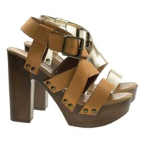 Juliana11s By Bamboo, Faux Wooden Platform Chunky Block Heel Sandal Metal Bolt Strap