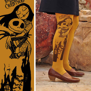Halloween - Nightmare Before Christmas - Printed Tights -  Unique Tights- size S / M / L