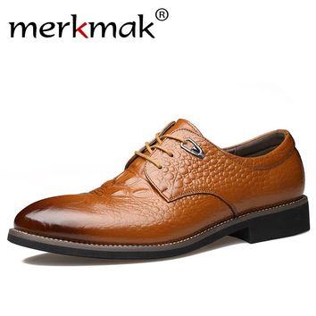 Merkmak Men Dress Shoes Genuine Leather Oxford Shoes Alligator