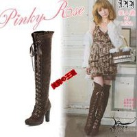 Korean Japanese sweet style high-heeled knee boots