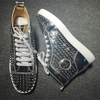 Cl Christian Louboutin Louis Spikes Style #1856 Sneakers Fashion Shoes