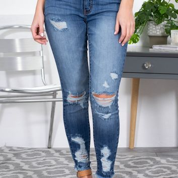Distressed Skinny Mid Rise Jeans