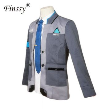 Game Detroit: Become Human Connor RK800 Agent Suit Uniform Tight Unifrom Cosplay Halloween Costume for Men Women Carnival Dress