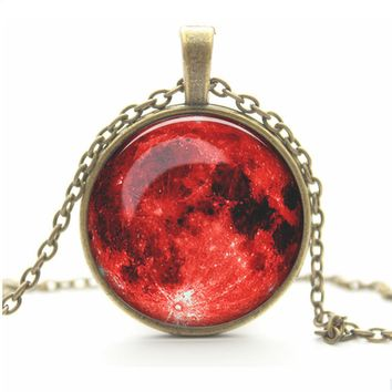 Full Moon Necklace Pendant - Lunar Jewelry - Free Shipping