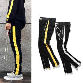 designer clothing mens zipper pocket and anke zip track pants long dawstring sweatpants slim fit side striped retro trousers