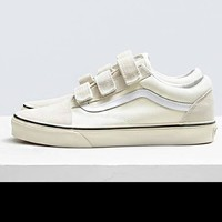 VANS Canvas Velcro Hook&Loop flat shoes Women Men Shoes Beige B-CSXY