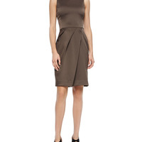 Pleat-Skirt Satin Sheath Dress,