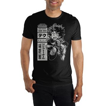 MHA My Hero Academia Izuku Midoriya One For All Quirk Men's Black T-Shirt Tee Shirt
