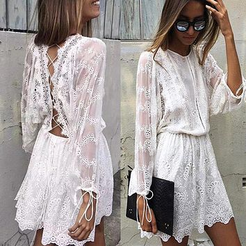 White Lace Dress 2017 Women Elegant Vintage Long Sleeve Hollow Out Backless Cross Strap Tunic Shirt Dress