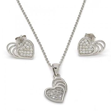 Sterling Silver 10.174.0002 Necklace and Earring, Heart Design, with White Micro Pave, Polished Finish, Rhodium Tone