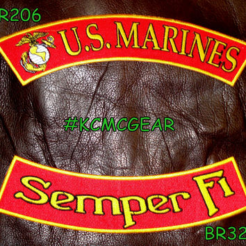 U.S. Marines Semper Fi Embroidered Military Patch Set Gold & Black on Red Patches for Jackets