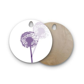 "Monika Strigel ""Dandelion"" Purple Flower Round Wooden Cutting Board"