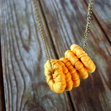 Tshirt Yarn Necklace, Cotton Necklace, Fiber Necklace, Ohcre Necklace, Washers Necklace, Statement Necklace, Bronze Chains, Yellow Necklace.
