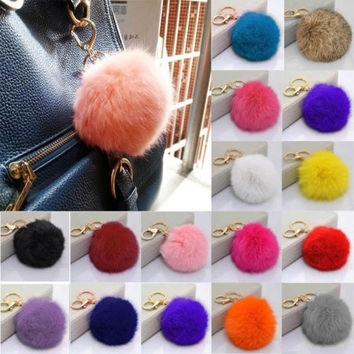 Artificial Luxury FaRabbit Fluffy Fur Soft Ball PomPom Car Keychain Handbag Charm Key Ring = 1932864132