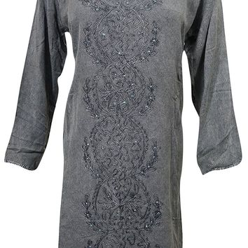 Womens Tunic Grey Hand Embroidered Stonewashed Bohemian Shift Dress M…: Amazon.ca: Clothing & Accessories