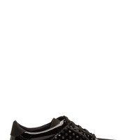 Jimmy Choo Black Patent Leather And Velour Studded Sneakers