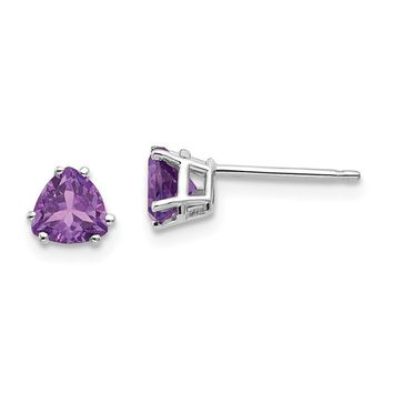 14k White or Yellow Gold 5mm Trillion Amethyst Earrings