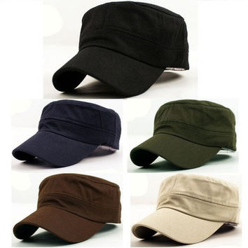 New Classic Plain Vintage Army Military Cadet Style Cotton Cap Hat Adjustable