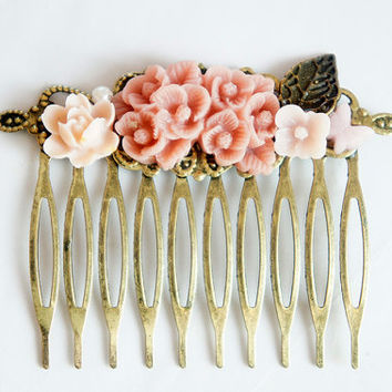 Pink Flower Shabby Chic Collage Comb - OOAK Victorian Style Shabby Chic Flower Collage Hair Comb - Pearl Butterfly Flower - VCC001