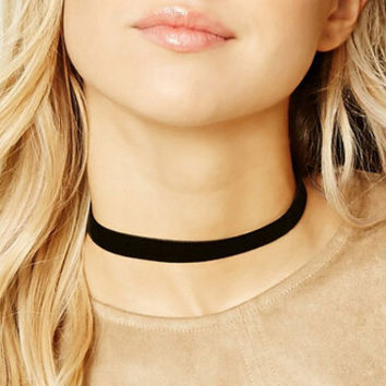 Retro Black Velvet Choker Necklace +Gift Box