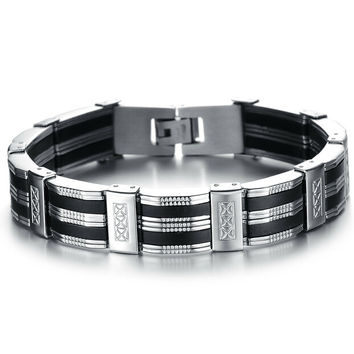 Personality Men Bracelet Brazalet High Quality Stainless Steel & Silicone Mens Bracelets Jewelry For Best Friends Wristbands
