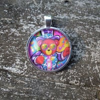 Lisa Frank HOLLYWOOD BEAR in Top Hat and Tuxedo Necklace Vintage Sticker Pendant Charm Necklace -- Choose Shape: Square, Circle, Heart