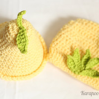 Crochet baby  Pear hat and diaper cover set, handmade, 100% cotton, Photo Prop/newborn photography/0-3 months, can be made in other sizes