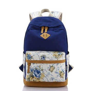Students Canvas Floral Travel Daughter's College Backpack Daypack Bookbag Teen Girls
