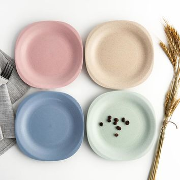 4 Colors/Set Eco-friendly Wheat Straw PP Dinner Plates 18.5cm Dishes for Cake Dessert Rice Dinnerware Sets Tableware Plate Dish